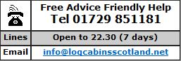 Call 01729 851181 / Text 07885 211787 for Log Cabins and Lodges in Scotland